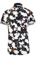 River Island White Floral Camo Print Short Sleeve Shirt - Lyst
