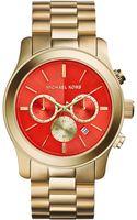 Michael Kors Womens Chronograph Runway Goldtone Stainless Steel Bracelet Watch 45mm - Lyst