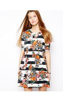 Asos Smock Dress in Stripe and Floral - Lyst