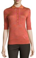 M Missoni Striped Contrast-collar Top - Lyst