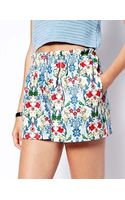 Asos Culotte Shorts in Floral Scuba - Lyst