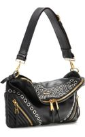 Miu Miu Eyeletembellished Leather Shoulder Bag - Lyst