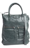 Balenciaga Green Leather Convertible Tote Bag - Lyst