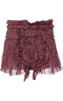 Isabel Marant Pleated Chiffon Silk Melissa Skirt in Rust - Lyst