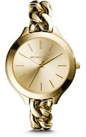 Michael Kors Slim Runway Goldtone Stainless Steel Chainlink Watch - Lyst