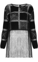 Topshop Crochet Patch Fringe Top - Lyst