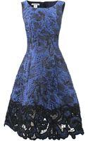 Oscar de la Renta Lame Embroidered Bottom Dress - Lyst