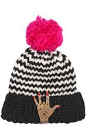 Maria Francesca Pepe+wool And The Gang Wool Beanie Hat W Gold Pleated East Pin - Lyst