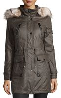 Laundry By Shelli Segal Faux Fur Hooded Twill Trench Coat - Lyst