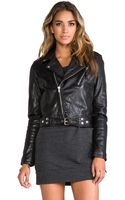 BLK DNM Cropped Motorcycle Jacket with Beading Detail - Lyst