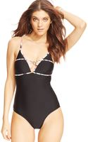 Jessica Simpson Latticeback Onepiece Swimsuit - Lyst