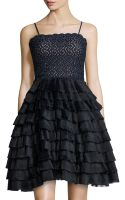 RED Valentino Lace  Tiered Ruffle Cocktail Dress - Lyst