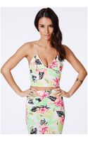 Missguided Tobisia Neon Tropical Print Strappy Bralet - Lyst