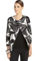 Lafayette 148 New York Black and White Cotton Blend Woven Printed Venus Topper Jacket - Lyst