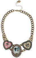 Betsey Johnson Antique Gold-tone Critter Cameo Frontal Necklace - Lyst