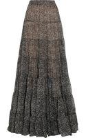 Michael Kors Tweedprint Silkchiffon Maxi Skirt - Lyst