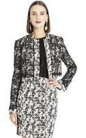 Oscar de la Renta Marbled Tweed  Chantilly Lace Cropped Jacket - Lyst