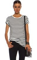T By Alexander Wang Stripe Linen Cotton Tee - Lyst