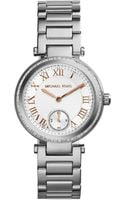 Michael Kors Mini Skylar Stainless Steel Glitz Bracelet Watch - Lyst