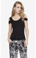 Express Fitted Cold Shoulder Tee - Lyst