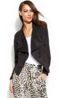 Inc International Concepts Faux-suede Perforated Drape-front Jacket - Lyst