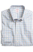 Brooks Brothers Non-iron Regular Fit Orange Twin Check Sport Shirt - Lyst