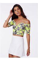Missguided Ursanna Scuba Floral Print Bardot Crop Top - Lyst