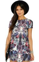 Missguided Taya Flower Print Short Sleeve Swing Dress - Lyst