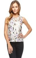 Hugo Boss Idesa  Silk Abstract Floral Print Blouse - Lyst
