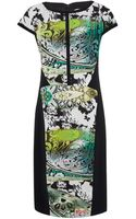 Etro Green Paisley Print Boat Neck Dress - Lyst