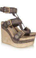 Alexander McQueen Studded Leather Wedge Sandals - Lyst