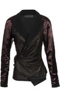 Haider Ackermann Leather and Wool Wrap Jacket - Lyst