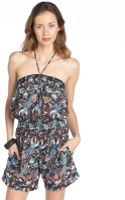 French Connection Black Multicolor Cotton Phoenix Print Halter Romper Coverup - Lyst
