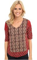 Lucky Brand Mixed Woodblock Top - Lyst