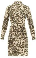 Diane Von Furstenberg Prita Animal-print Washed-silk Shirt Dress - Lyst