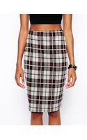 Asos Check Print Pencil Skirt - Lyst