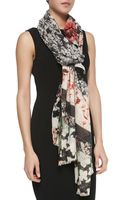 Roberto Cavalli Florallace Patchwork Scarf Blackcoral - Lyst