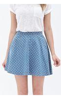 Forever 21 Dotted Denim Skater Skirt - Lyst