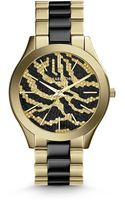 Michael Kors Mid-size Golden Stainless Steel Runway Three-hand Glitz Watch - Lyst