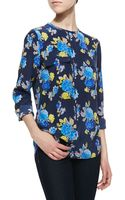 Equipment Lynn Floralprint Blouse Peacoatblue - Lyst