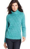 Jones New York Signature Cable-knit Heathered Turtelenck Sweater - Lyst