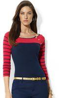 Lauren by Ralph Lauren Striped Raglansleeved Cotton Shirt - Lyst