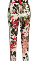 Roberto Cavalli Eden Floralprint Silk Tapered Pants - Lyst