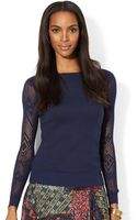Lauren by Ralph Lauren Petite Sheersleeve Pointelleknit Sweater - Lyst
