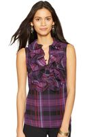 Lauren by Ralph Lauren Sleeveless Ruffled Plaid Top - Lyst
