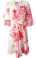 Stella McCartney Floral Print Kimono Sleeve Dress - Lyst