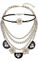 Topshop Flower Choker and Necklace Set  Mixed Metal - Lyst