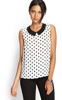 Forever 21 Dotted Peter Pan Top - Lyst