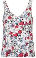 Topshop Womens Floral Print Crepe Swing Vest  White - Lyst
