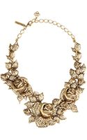 Oscar de la Renta Gold Rose Necklace - Lyst